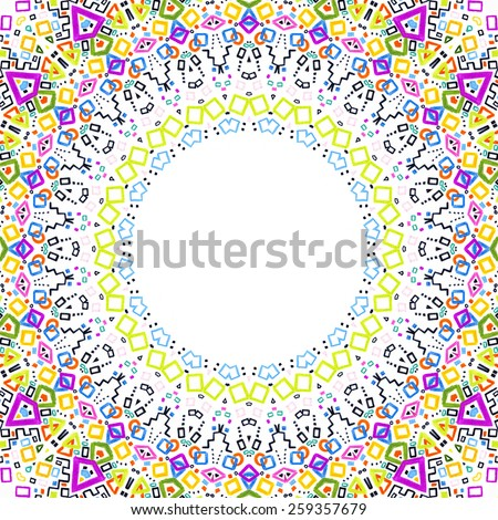 White background with bright colorful abstract pattern frame - stock photo
