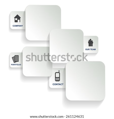 White background with four tabs of the company for the introduction of the company  - stock photo