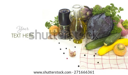 White background with  Fresh spring vegetables and spices - stock photo