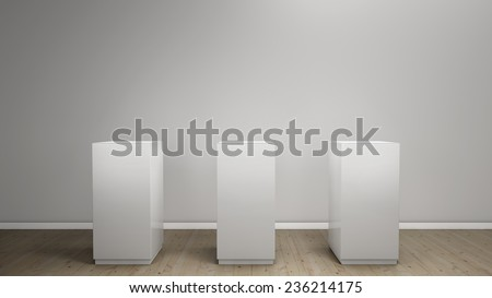 white background with pedestal - stock photo