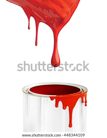 White background with red paint flowing, paint brush.