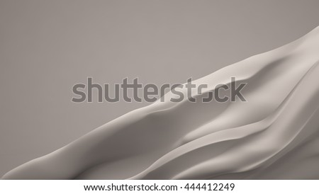 White background with soaring, flying, moving fabric - silk, satin, satin. 3d illustration 3d rendering