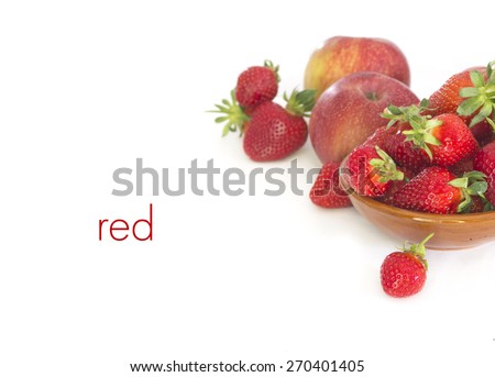White background with  strawberries  and apples - stock photo