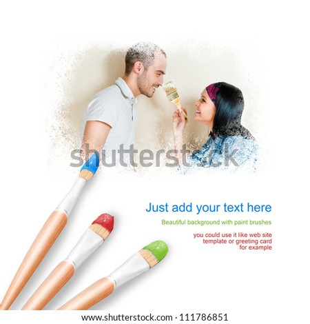 White background with three paintbrushes painting portrait of beautiful young couple in love - stock photo