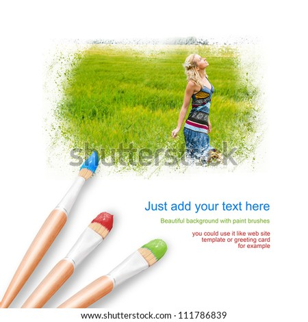 White background with three paintbrushes painting portrait of beautiful young woman outdoors - stock photo