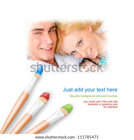 White background with three paintbrushes painting young loving couple outdoors - stock photo