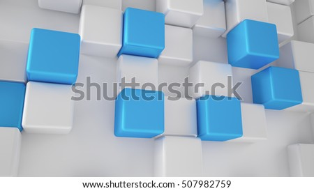 White background with white and turquoise, blue cubes. 3d illustration, 3d rendering.