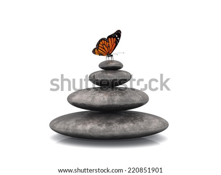white background,zen stones and butterfly  - stock photo