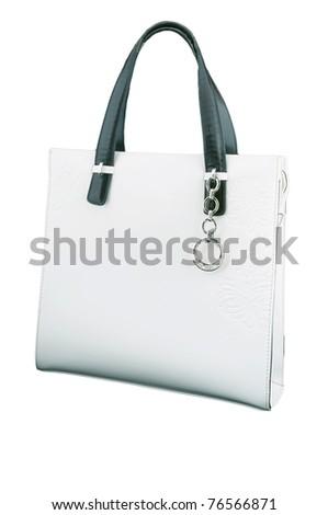 white bag ladies handbag on a white background - stock photo