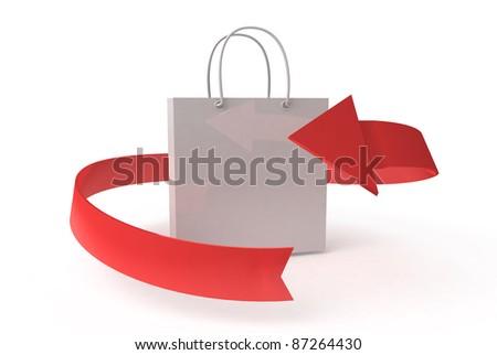 white bag with arrow on white background - stock photo