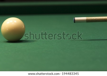 white ball in a billiard table in club - stock photo