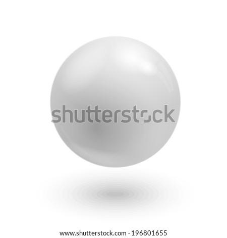 White ball isolated on white background - stock photo