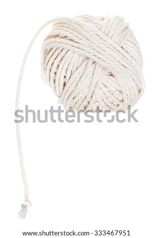 white ball of cotton rope isolated on white background