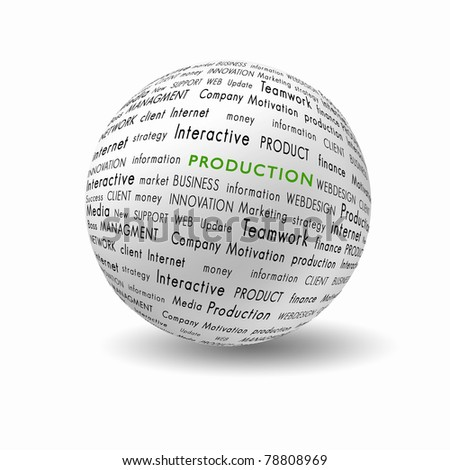 white ball with bussiness and financial terms written on it - stock photo