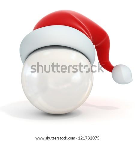 white ball with santa's hat - stock photo