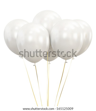 White Balloons isolated on White Background - stock photo