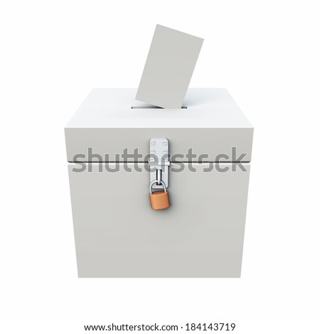 white ballot box with padlock and ballot paper - stock photo