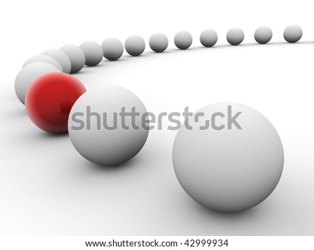 White balls arranged along circle with red one isolated on white. Uniqueness concept image. - stock photo