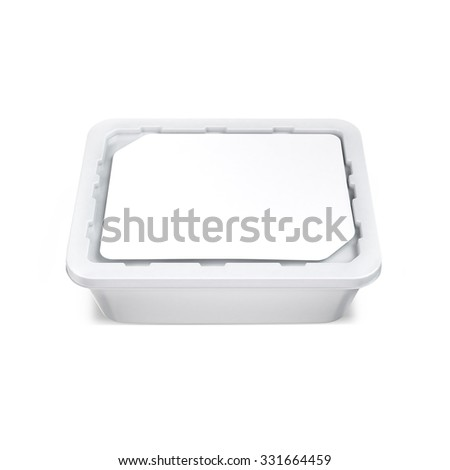 White bank for food oil, mayonnaise, margarine, cheese, ice cream, olives,, pickles, sour cream. Food and drink plastic blank. Template Ready For Your Design. Isolated on white
