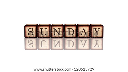 white banner 3d wooden cubes with reflection with letters makes sunday - stock photo
