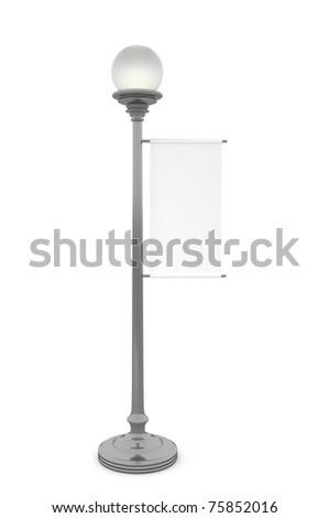 White Banner on Street Lamp - 3d illustration - stock photo