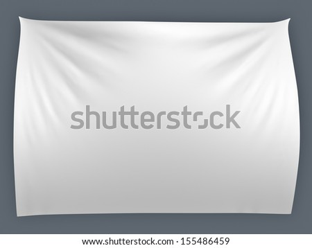 White banner with folds, isolated  - stock photo