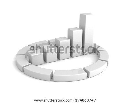 white bar chart graph growing up. business 3d render illustration - stock photo