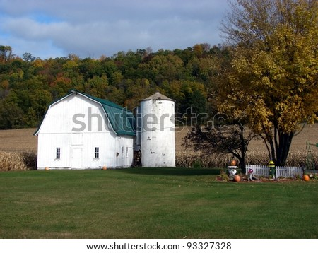 white barn silo on farm