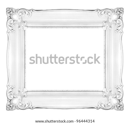white baroque frame horizontal white frame isolated on white background inner and outer clipping - White Picture Frame