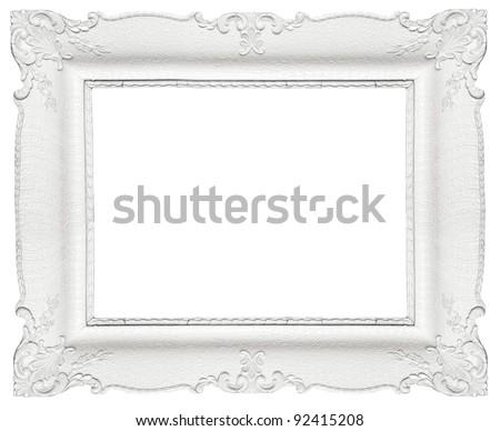 white baroque frame isolated on white background - White Frames