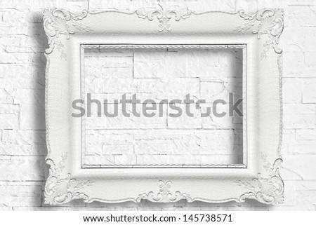 White Baroque Frame On Modern Brick Stock Photo (100% Legal ...