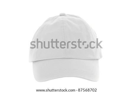 White Baseball Cap isolated on white - stock photo