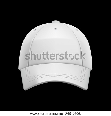 White baseball cap template (isolated on black, clipping path) - stock photo