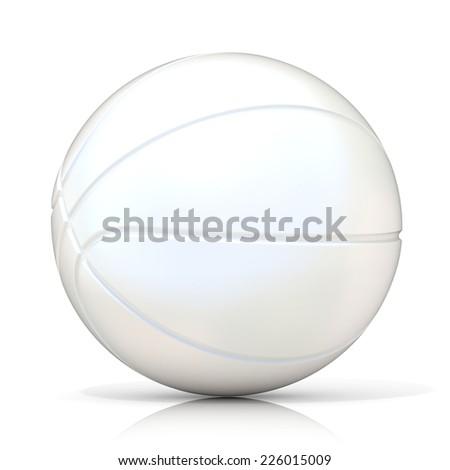 White basketball ball, isolated on white background. - stock photo