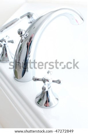 White bath. Close up - stock photo