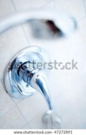 White bath. Shower. Close up - stock photo