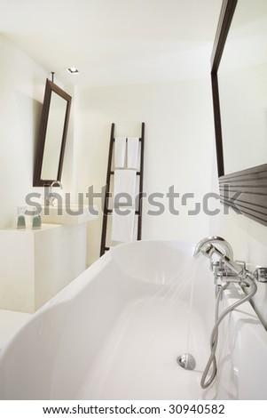 white bathroom - stock photo