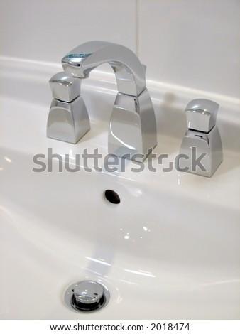 White Bathroom Basin - stock photo