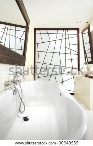 white bathroom design - stock photo