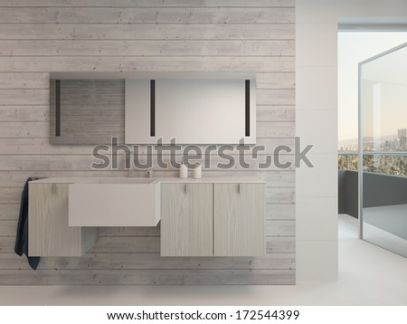 White bathroom interior with modern furniture - stock photo