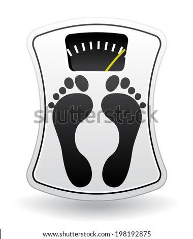 White bathroom scale. Diet concept icon. - stock photo