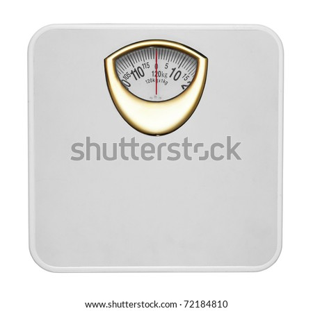 White bathroom scale isolated in white background - stock photo