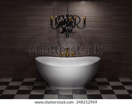 white bathtub in the  bathroom. 3d illustration - stock photo