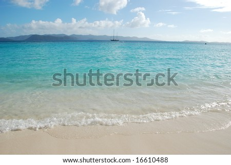 White beach and turquoise waters.  British Virgin Islands.