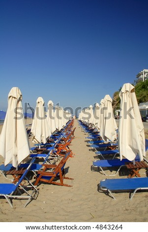 white beach umbrellas