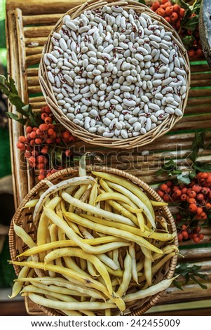 White beans in wicker basket on background of mountain ash berries and yellow pods. - stock photo