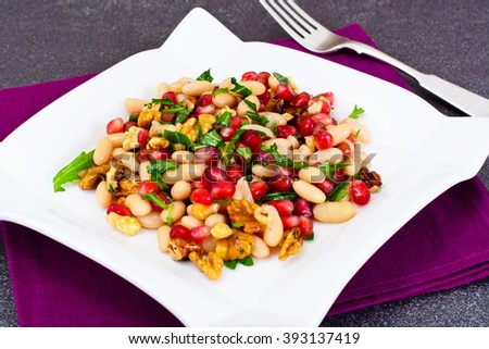 White Beans with Pomegranates, Walnuts, Olive Oil, Lemon Juice Studio Photo