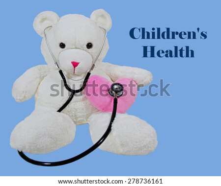 White Bear With Stethoscope and Heart - stock photo