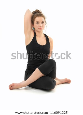white beautiful woman in sitting advanced yoga pose, on white background - stock photo