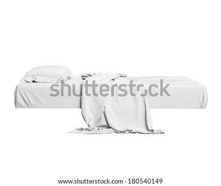 White Bed In Empty Space Isolated on White background, Render  - stock photo